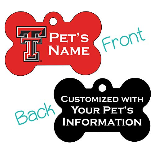 uDesignUSA Texas Tech Red Raiders Double Sided Pet Id Dog Tag Personalized with 4 Lines of Text