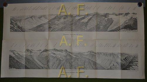 Panorama vom Hohen Rad (2912 m). Blatt 1 und 2 / Tafel 6 und 7 aus der Zeitschrift des Deutschen und...