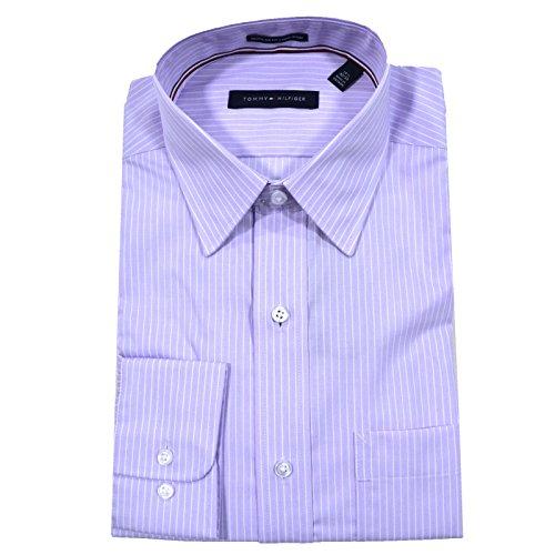 "Tommy Hilfiger Men's Dress Shirt Regular Fit Non Iron Banker Stripe, Wild Orchid, 15"" Neck 32""-33"" Sleeve (Medium)"