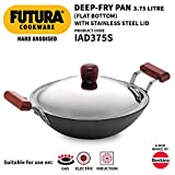 Futura IL26 Induction Compatible Hard Anodized Flat Bottom Deep Fry Pan / Kadhai with Stainless...
