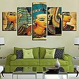 DGGDVP Imágenes enmarcadas, póster de Vcanvas, 5 Paneles, Pinturas del faraón del Antiguo Egipto, decoración del hogar para la Sala de Estar, tamaño 1 con Marco