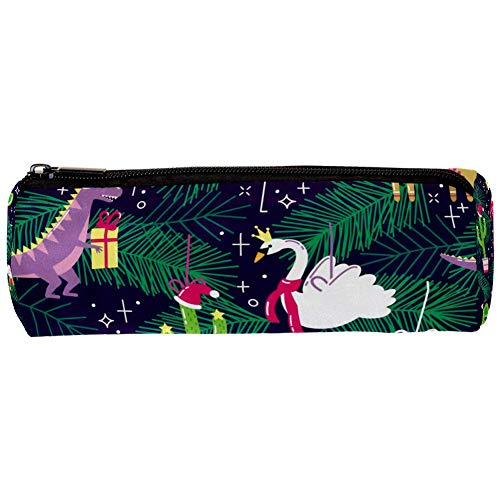 TIZORAX Federmäppchen mit Weihnachtsmütze, Dinosaurier, Flamingo, Einhorn, Schwan, Kaktus, Federmäppchen, Reißverschluss, Münzaufbewahrung, Make-up-Tasche für Damen, Teenager, Mädchen, Jungen, Kinder