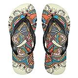 Linomo Chanclas de dedo para hombre y mujer, con diseño de mandala y elefante, para verano, para la playa, multicolor, 42/43 EU