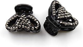 Rougecaramel Spinki do włosów z kamieniami strasu, kształt serca, 2,5 cm, hematyt, 2 sztuki