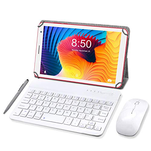 Tableta 8 Pulgadas, Android 10.0 Pie Tablet PC, 3 GB de RAM y 32 GB de Memoria, Pantalla IPS HD, Quad-Core, WiFi, Netflix, Bluetooth, OTG, Certificado por Google GMS- Rojo