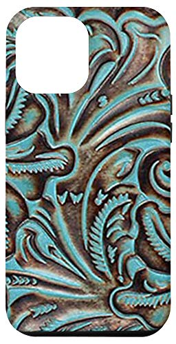 iPhone 12 Pro Max Turquoise and Chocolate Tooled Western Print Case