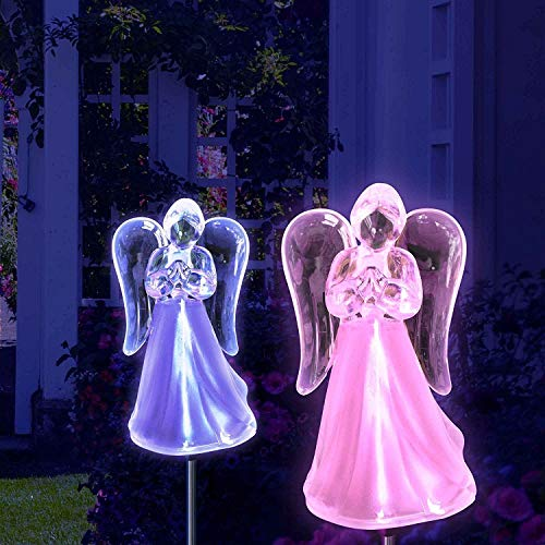 Exquisite Selebrity Set of 2 Acrylic Angel Acrylic Solar Stake Light Garden Decorations Outdoor Yard Art Lawn Ornaments Patio Lights Stick Color Change LED Light