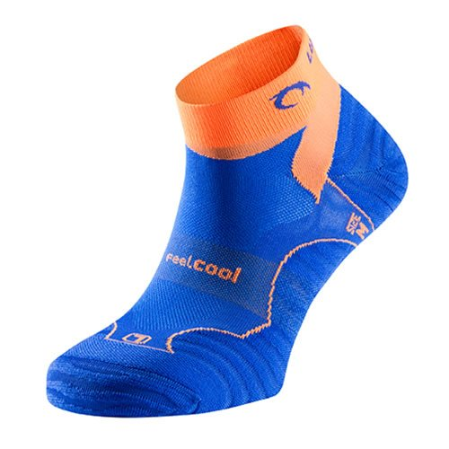 Lurbel Chaussettes de course « TIWAR » de qualité supérieure avec canaux de circulation de l'air, rembourrage léger, unisexe, avec clip pratique (bleu/orange, 35-38)