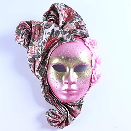 YU FENG Máscaras de disfraces pintadas a mano, disfraces venecianos con elegante decoración, rosa, máscara de Venecia