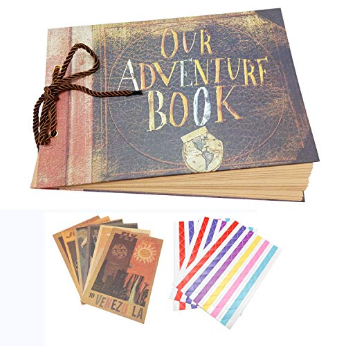 """Xiduobao - Diario di viaggio/Album per fotografie in stile retrò con decorazione """"My Adventure Book"""", ideale per compleanno, scrapbooking, fai-da-te, matrimonio Printed with 'OUR ADVENTURE BOOK'"""