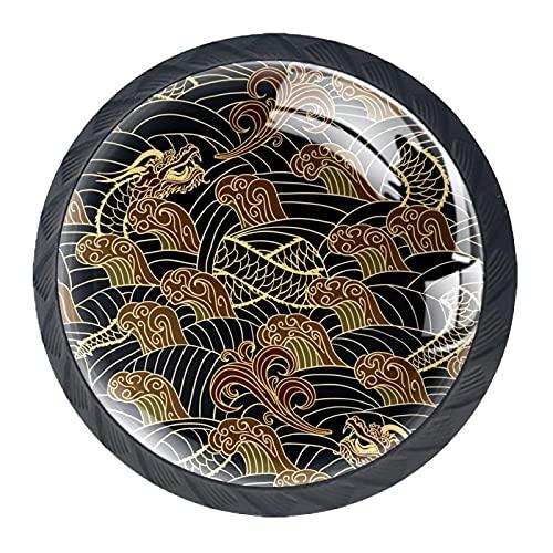 AITAI Juego de 4 pomos decorativos para puerta, diseño de dragón oriental en la onda, elegante adición para armario, cajón, aparador, dormitorio