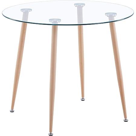 GOLDFAN Rond Table à Manger de Cuisine Moderne Table de Salle à Manger en Verre et Pieds en Métal Diamètre 80cm