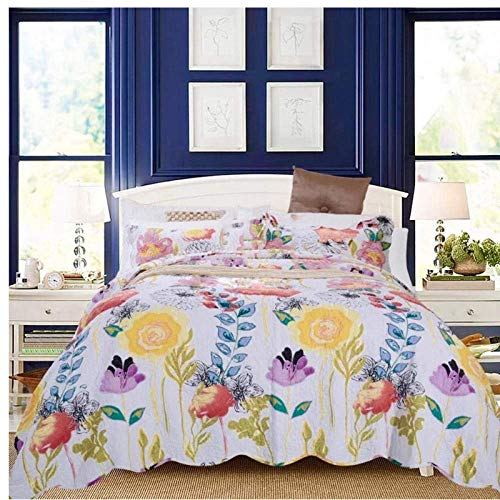 Nologo Tagesdecken-Set, 3-teilig, Bettdecke, Blumen, bedruckt, gesteppt, Bettbezug, Kissenbezug, King-Size-Größe, 200 x 220 cm, Daguai, weiß, 180x200cm