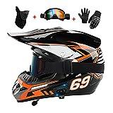 LIYANZWJ Casco de motocross, casco de motocicleta con Bluetooth, certificado DOT, casco de carreras de calle, deporte, moto de moto para hombres y mujeres, guantes, gafas y máscara
