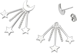 Mignon Faget Crescent Starburst Moon and Star Ear Jacket Earrings, Sterling Silver