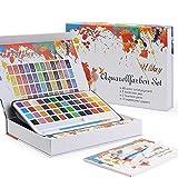 Ulikey Set de Pinturas de Acuarela, 48 Colores Pinturas de Acuarela Sólida Set - 2 Pinceles de Agua, 2 Pinceles Acuarelas, 10 Papel para Aficionados Incipientes y Profesionales (48 Colors)