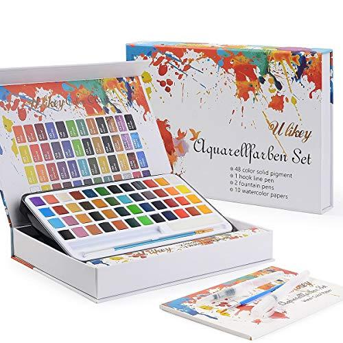 Ulikey Set di 48 Colori per Pittura ad Acquerello, Set di Acquarelli Solida, 48 Colori Acquerelli + 2 Pennello + 2 Pennelli Acquerelli + 10 Fogli di Carta Acquerello (48 Colors)