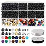 752pcs Lava Beads Kit, Lava Stone Rock Beads Chakra Beads Spacers Beads with 2 Rolls Elastic Bracelet String and Needle for Essential Oils Bracelet Necklace Jewelry Making (8mm 6mm 4mm)