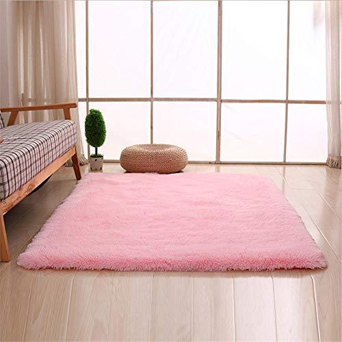 Geometrisch groot formaat rechthoekig vierkant zacht pluizig gebied tapijt roze bont tapijt pluizig lang haar solide mat thuis