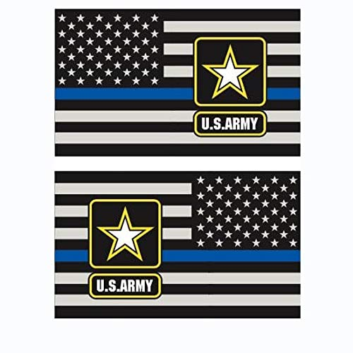 OTA STICKER AMERICANS FLAG SUBDUED THIN BLUE LINE (LEFT-RIGHT)ARMY POLICE RESCUE MILITARY SOLDIER ROCK METAL HEAVY DECAL LAPTOP CAR WINDOW DOOR WALL MOTORCYCLE HELMET LUGGAGE BACK TRUCK VAN SUV SYMBOL