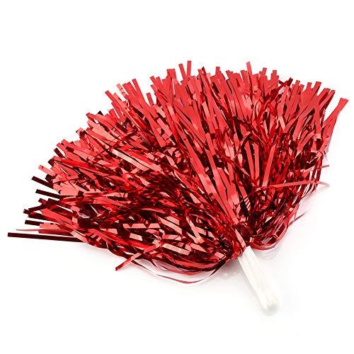 Tbest, pompon per cheerleading, 6/12 pezzi, per cheerleader, a forma di fiore appeso, con pellicola metallica, per gruppo, esultanza, sport, party, ballo, accessorio utile, Rosso 12.