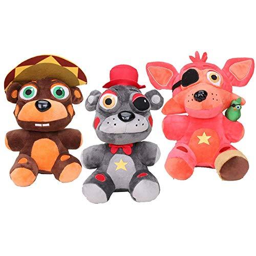 LMHH Anime FNAF Five Nights At Freddy'S Plush Toy Animal Grizzly Bear Hat Oso Pink Fox Stuffed Dolls Niño Halloween Regalo 18Cm 3Pcs