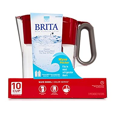 Brita Wave 10 Cup Water Pitcher Plus 2 Advance Filters (Red/Clear)