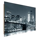 Feeby Frames, Cuadro de Pared, Cuadro Decorativo, Cuadro Impreso, Cuadro Deco Panel, 60x80 cm, Puente, Ciudad, Noche, Nueva York, Puente Brooklyn, Blanco Y Negro
