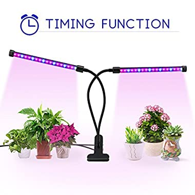 Timing Function Dual Head Grow Light, Balleen.E 36 LEDs Grow Lamp Bulb, 360° Flexible, 3/6/12H Timer, 5 Dimmable Levels for Indoor Plants Hydroponics Greenhouse Gardening Plant [2018 Upgraded]