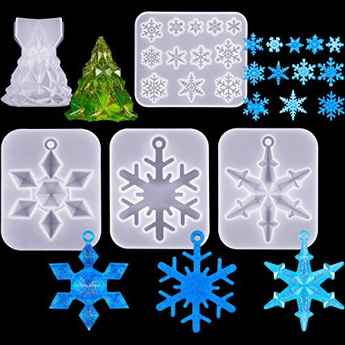 5 Pieces Christmas Resin Molds 3D Christmas Tree Silicone Mold Snowflake Casting Molds Bedroom Container Molds Epoxy Resin Soap Mold for Christmas Giving Xmas DIY Crafts Pendant Wedding Props Decor