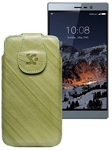Original Suncase Tasche für Switel eSmart M3 | Leder Etui Handytasche Ledertasche Schutzhülle Hülle Hülle / in wash-grün