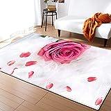 CQIIKJ Alfombra Estampada Flor Rosa Rosa Blanca Alfombra Antideslizante Duradera, Lavable, Suave, 120 x 170 cm Alfombras para Sala de Estar,Dormitorio,