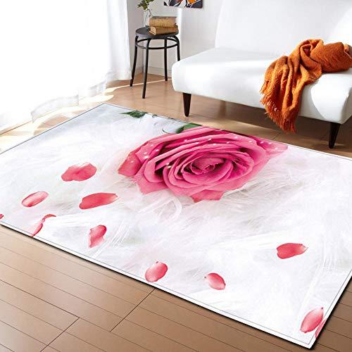CQIIKJ Alfombra Estampada Flor Rosa Rosa Blanca Alfombra Antideslizante Duradera, Lavable, Suave, 60 x 90 cm Alfombras para Sala de Estar,Dormitorio,