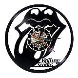 Theskystore Disque Vinyle Horloge Murale Design Moderne Musique Thème Le Rolling Stone Band Suspendus Horloges Vintage Montre...