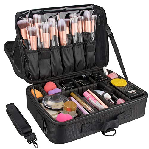 Relavel Makeup Bag Travel Makeup Train Case 13.8 inches Large Cosmetic Case Professional Portable Makeup Brush Holder Organizer and Storage with Adjustable Dividers and Shoulder Strap Black