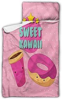 "Ahuimin Toddler Nap Mat, Anime,Sweet Kawaii Donut Coffee, 43"" x 21"" Sleeping Bag with Pillow Microfiber Fleece Blanket,Perfect Size for Daycare Preschool Kids Toddlers"
