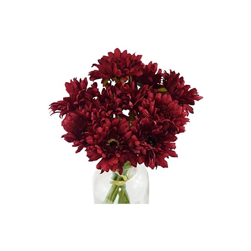 silk flower arrangements fiveseasonstuff gerbera daisy, outdoor artificial silk flowers arrangement & wedding bouquet (10 floral stems, garnet red)
