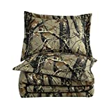 Salem 3-Piece Forest Woods Comforter Set - Nature Camo Tree Leaves Printed Soft Microfiber Bedding - Natural, Queen