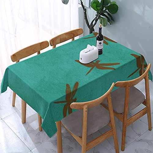 Table Cloth,Dragonflies And Teal Colored Decorative Tablecloth Rectangle Water Resistant Tablecloth for Kitchen Dinning Party 54x72 inch