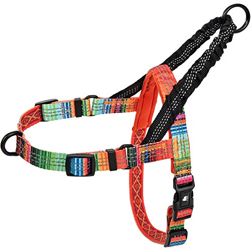 Leashboss Pattern Reflective No Pull Dog Harness with Bungee Handle, Rear and Front Clip Attachment, Pattern Collection (Blanket Pattern, Medium)