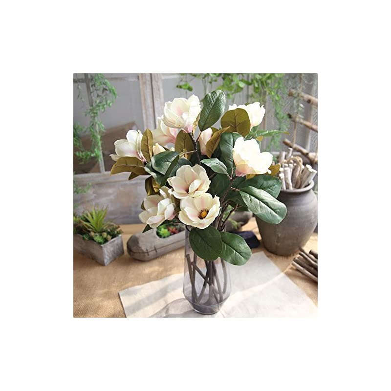 silk flower arrangements allywit artificial magnolia flowers, fake real touch magnolia bouquet for indoor outdoor wedding home garden patio