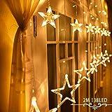 Iluminación Navidad Interior Avoalre Luz Cortina Led 12 Estrella Guirnalda de Luces Pared Ventana...