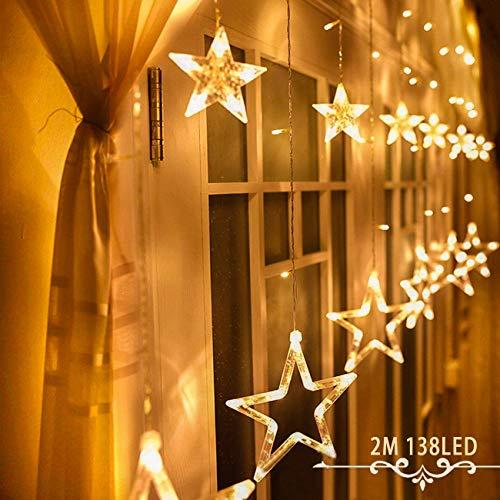 Avoalre Lichtervorhang 12 Sterne 2M Lichterkette 138LEDs Lichter Ketten (max. 13 Sätze) Erweiterbar mit 8 Modi Weihnachtsbeleuchtung im Innen/Außen