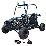 X-PRO 110cc Youth Go Kart Dune Buggy Kids Go Cart Gokart 2 Seater Go Kart with Gloves, Google and Handgrip (Black)