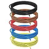 DCSk 0,75 mm² – 10 m – Cable para vehículos FLRY B asimétrico Set 5 colores – 0,75 mm² – Cable de coche – Rojo Negro Azul Marrón Amarillo – 10 m