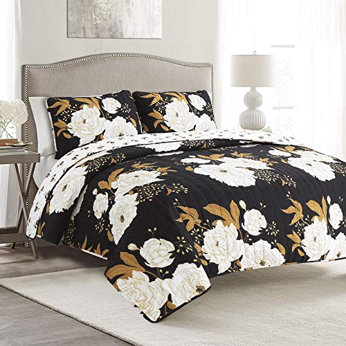Full/Queen 3pc Zinnia Floral Quilt Set Black/Gold - Lush Décor