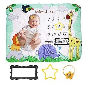 Manta Milestone para bebé, KNMY Manta Mensual De Bebé para Fotos, Franela Manta Regalos para bebé en Crecimiento,100 x…