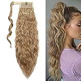 50cm Extensiones de clip de pelo natural ola de maíz cola de caballo Pasta Mágica ondulado Ponytail Hair Extension Pedazo de cabello Marrón claro ceniza mix lejía rubia