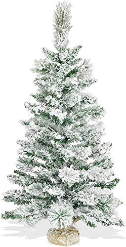 Albero di Natale Piccolo 90 cm con Base in Juta | Pinetto Innevato Slim Folto e Realistico | Alberello Artificiale con Neve Salvaspazio da Tavolo | Doppio Fogliame PP e PVC 85 Rami