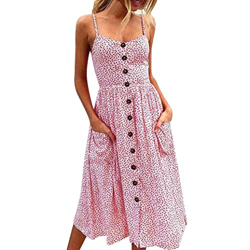 VEMOW Elegante Damen Sommerkleider Floral Bohemian Spaghetti Strap Tasten Unten Solid Off Schulter Sleeveless Princess Swing Midi Kleid mit Taschen(Rosa, 44 DE/S CN)